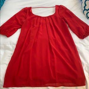 Red mid sleeve dress